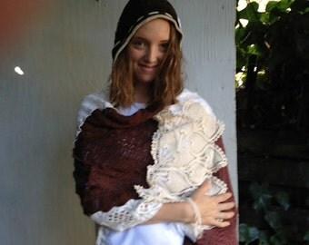Dark brown forest winter camp hike Rustic bride Latte ecru veil crochet hood headpiece lace covering hat