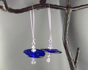 """Lampwork Glass Disks, Swarovski Crystals, Sterling Silver - 3"""" - Earrings - Hand Crafted Artisan Jewelry"""