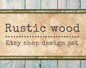 Etsy Banner, Rustic graphics, Custom banners, Wood banner, Etsy shop set