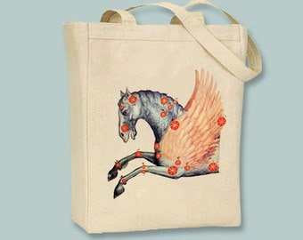 Vintage Pegasus Constellation NATURAL or BLACK Canvas Tote  - selection of sizes available