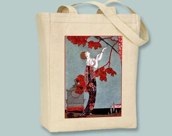 George Barbier Art Deco 1914 Fashion Print NATURAL or BLACK Canvas Tote - Selection of Sizes Available