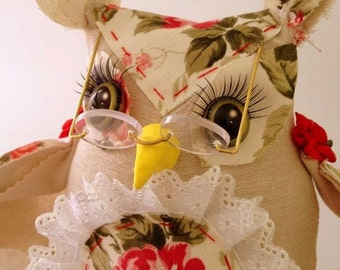 Soft Sculpted Doll Super Clever Owl. Soft Sculpture Doll
