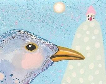 Original ACEO Bird Painting, Whimsical Blackbird Illustration ACEO
