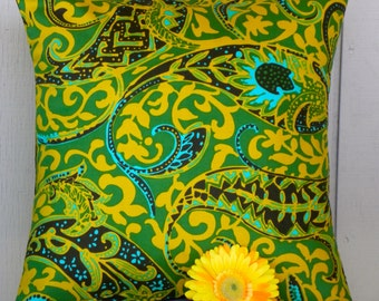 Pillow Cover - Vintage Kelly Green and Mustard Paisley - 18 x 18