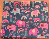 Pink Elephants Swaddling Blanket - Modern Baby Girl Flannel Blanket - Single Layer Receiving Blanket - Ready to Ship
