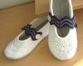 Chevron Slippers White Women House Shoes Crochet Home Mary Jane Slippers White Green Pink Wool Acrylic Yarn Slippers -   T0007