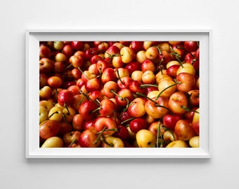 Red and Yellow Kitchen Decor - Rainier Cherries Food Photography, Farmers Market Food Art Fruit Print - Small and Large Wall Art Prints