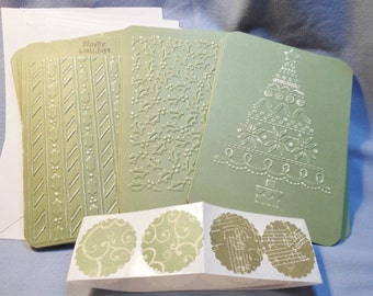 Olive green Christmas cards, 4.5 x 6.25, Embossed Holly, Christmas Tree, Sandable, Matching Seals, Set of 12