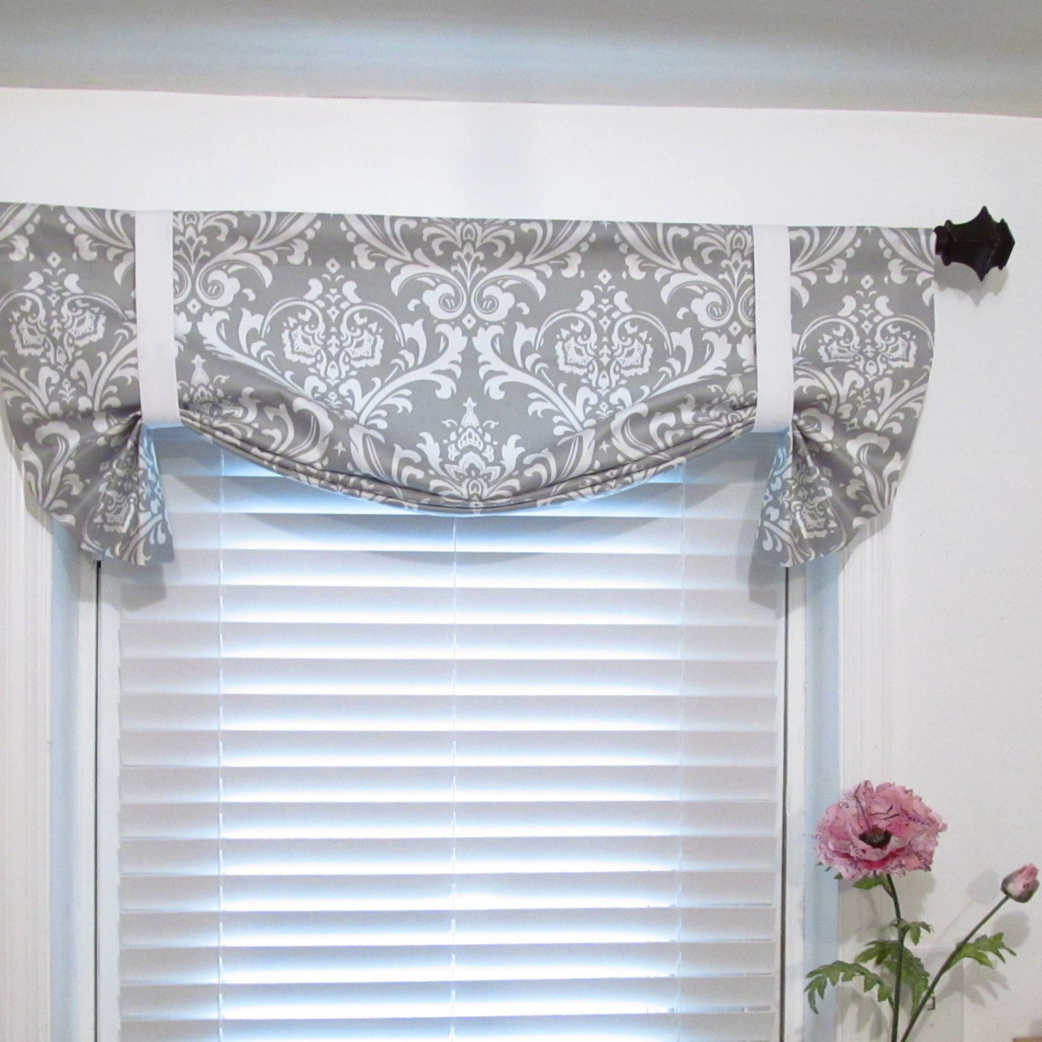 tie up curtain valance gray white damask by supplierofdreams. Black Bedroom Furniture Sets. Home Design Ideas