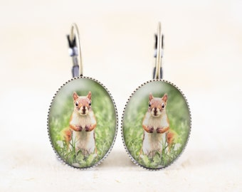 Red Squirrel Earrings, Woodland Animal Earrings, Woodland Squirrel Jewelry, Spring Animal Photography Jewelry
