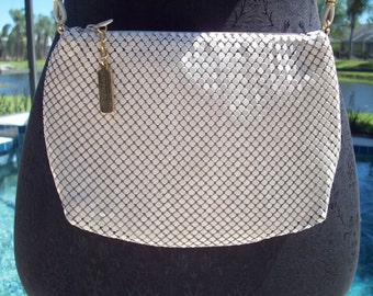 White Metal Mesh Bag by Whiting and Davis