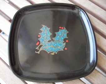 Small Holly Inlaid Couroc Tray