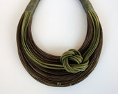 Olive Green and Brown  Fiber Statement Necklace