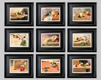Watercolor Wall Art Home Kitchen Decor Restaurant Still Life with Fruits Set of any 9 Prints from Original Watercolor Paintings Loft Decor