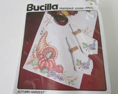Bucilla Stamped Cross Stitch Napkins Embroidery Kit Autumn Harvest Set of 8 Grapes Design