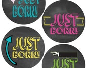 ADD ON Just Born Stickers for Baby, Just Born Stickers  - Chalkboard - Just Born Stickers -Baby Shower Gift - Baby