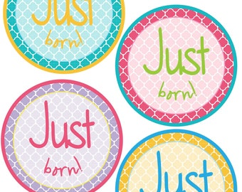 Just Born Stickers for Baby, Just Born Stickers  - Quatrefoil - Just Born Stickers -Baby Shower Gift - Baby