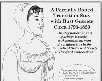 PP038 - Past Patterns #038, 1793-1820 Partially Boned Transition Stays with Bust Gusset Sewing Pattern