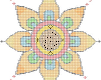Modern Flower Cross Stitch Pattern/Modern Geometric Flower Cross Stitch Pattern/Art Flower Cross Stitch Pattern/Cross Stitch Pattern/PDF