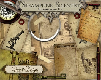Steampunk Scientist Junk Journal Digital Scrapbooking Kit Vintage printable paper craft hobby instant download digital collage sheet VD0546
