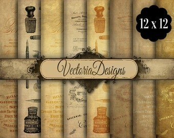 Vintage Ephemera Digital Paper 12 x 12 inch paper pack instant download digital paper printable digital collage sheet VD0689