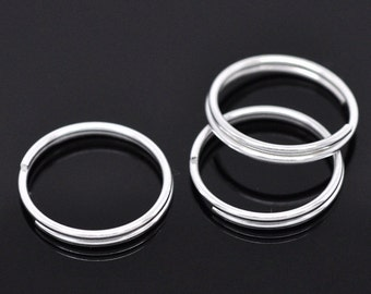 50 Bright Silver Plated Double Loops Split Rings Open Jump Rings 16mm . jum0003