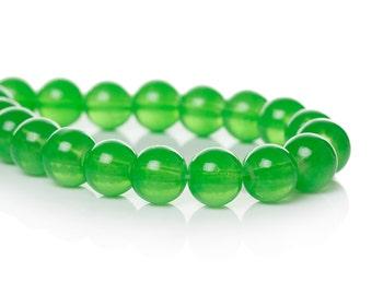 50 pcs Bright KELLY GREEN Round Glass 8mm, bgl0033
