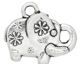 10 Small Silver Tone Fancy ELEPHANT Charms Pendants chs1169