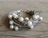 Boho Bracelet / Pearl Bracelet / Linen Thread Bracelet / Wedding Bracelet