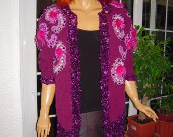 OFFER cardigan handmade knitted boho jacket in dark raspberry  embellished with crochet motifs,hippy like sweater by goldenyarn