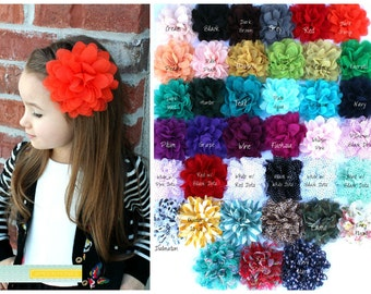 XL Chiffon Solids Collection on Skinny Elastic - Over 100 Different Flower Options - Holidays, Christmas baby girl woman child