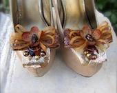 Wedding Shoe Clips Golden leaf