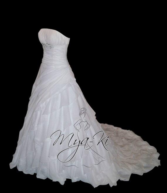 Strapless Chiffon A Line Princess Skirt Wedding Dress Gown