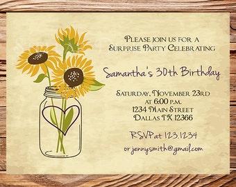 30th Birthday Invite, Adult Birthday, Mason Jar  Birthday, Mason jar, Sunflowers birthday invite, Event Invitation, Milestone -D13