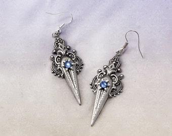 Victorian Swarovski Earrings - Silver Plated Victorian Earrings - Romantic Victorian Jewelry