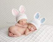 Newborn Twin Hats, Listing Is For ONE Bunny Hat, Crochet Bunny Hat, Newborn Easter Hat, Twin Photo Prop, Newborn Bunny Hat, Infant Bunny Hat