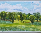 Maple Rd., Braun Farm, original landscape painting, watercolor, sunny day, clouds, blue sky, green trees, fields