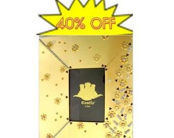 Sale 40% Jeweled Gold Leaf  Picture Ornate Frame - Embellished Gift for bride. 3-1/2x5 in. Golden and crystal jeweled frame Sari Pattern