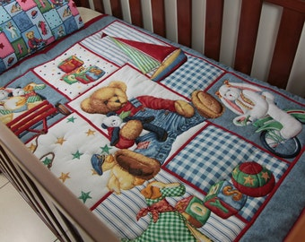 Blue Jeans Teddy Playtime Baby Quilt with matching pillowcase
