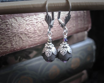 Black Everyday Earrings. Tulip Fairy Flowers with Silver and Purple Accents. Flower Girl Goth Wedding