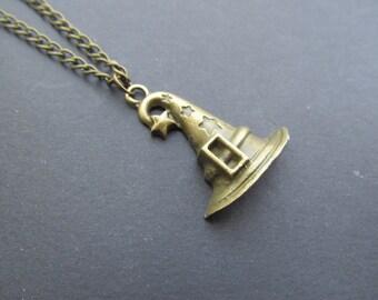 Hocus Pocus Witch Antiqued brass Necklace