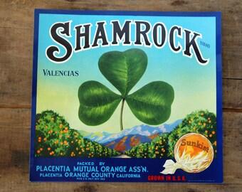 Vintage Shamrock Sunkist Citrus Crate Label - NOS