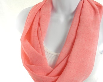Denim Look Peach Chiffon Infinity Scarf Summer Fashion Scarf by Thimbledoodle