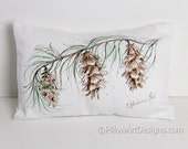 Painted Pine Cones Decoration Winter Home Decor 8 X 12 White Mini Pillow Made in Canada Original Art