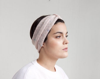 Rose tweed two straps hand knit headband HBL005