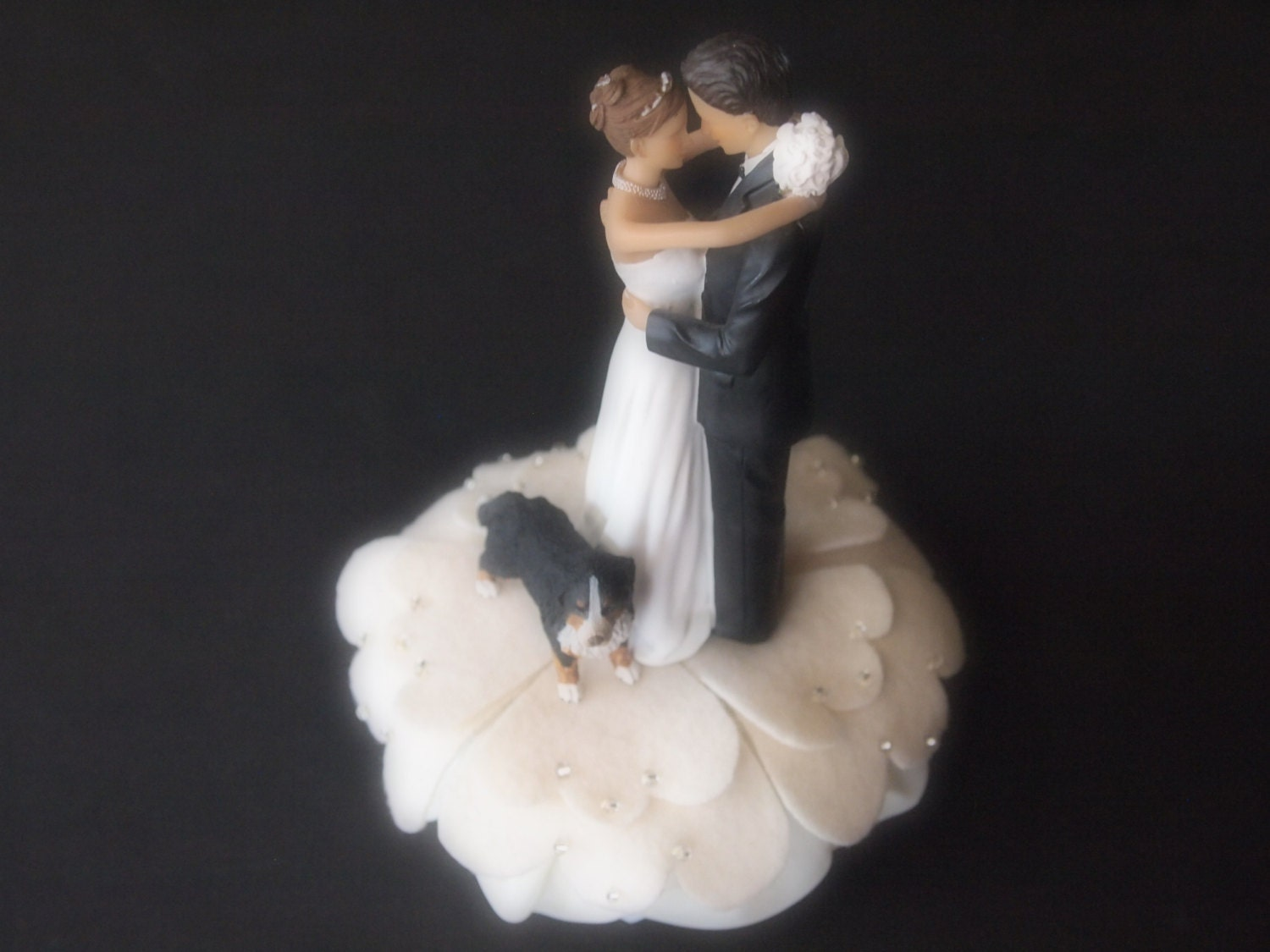 wedding cake toppers bride groom and dog cake topper wedding ivory groom bernese mountain 26422