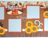 2 Premade Scrapbook Pages 12x12 Layout Paper Piecing Nuts About Fall Handmade Elite4U 002