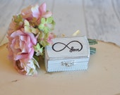 Rustic Wedding Ring Box Keepsake or Ring Bearer Box- Love Infinity-Personalized Inside- Comes With Burlap Pillow. Ships Quickly.