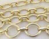 "One Chain Long Shiny Loop Dot  30mmx35mm  14mmx25mm Light Gold Aluminum  Metal Chain 5mm---38"""