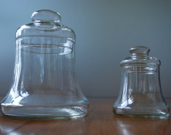 Pair of Vintage Clear Glass Apothecary Bell Jars - Fairy Garden _ Terrariums